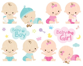 Baby Shower Clipart Clip Art Baby Boy Girl Clipart Cute Baby Clipart - Digital Instant Download