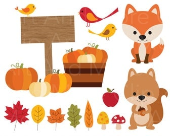 Fall Clipart Autumn Clipart Harvest Pumpkin Clipart Autumn Leaves Clipart Fall Leaves Clipart Fox Squirrel Animal Clip Art Fall Elements