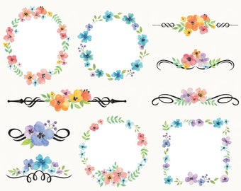 Watercolor Flower Frame Clipart Clip Art Wedding Instant Download Personal And