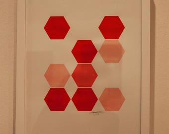Red geometric silkscreen