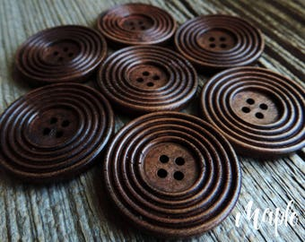 """Solid Wood Maple Color Ringed Button 