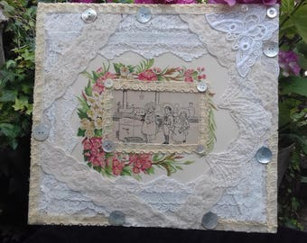 Vintage layered lace and mixed media Collage