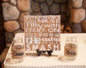 Wedding Decor, Cake Smash Sign, Bride and Groom Jars, Wedding Mason Jars, Wedding Signs, Wedding Game, Wood Signs for Wedding, Decorations