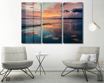 Orange and Blue Sunrise Wall Art Metal Print Decor Ready to Hang