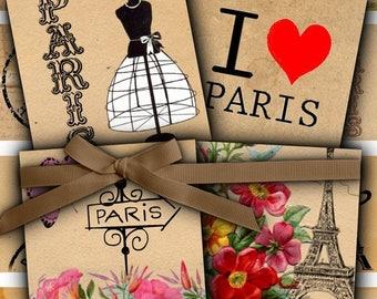 80 % off Graphics SaLe Vintage Paris Eiffel Tower Digital Collage 1 inch Square Scrabble Tile Images for Scrabble Tiles, Resin Pendants Glas