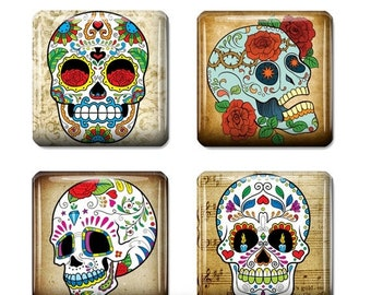 80% Off St Patricks Day Sugar Skull Dia de los Muertos Square Tiles Sugar Skull Jewelry Art Skull Digital Necklace Supplies Scrabble Tile si