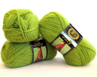 Jiffy Yarn Apple Green 3 Skeins Lion Brand Mohair Look Craft Supplies