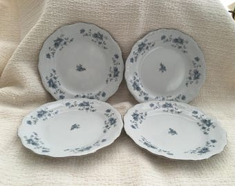 Johann Haviland, Traditions Fine China, Blue Garland, Thailand, Blue Floral on White, Salad Plate, Cake Plate, Bread Plate, 1990s