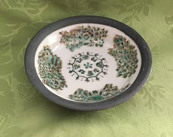 Japanese Porcelain Ware Pewter Encased Dish, Celedon Hand Painted Dish, 1950s, Encased Dish,  ISCO, Hong Kong