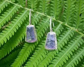 Purple salvia chalcedony and sterling silver earrings