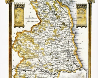 Northumberland historical county map 1837 reproduction North of England UK decorative map vintage office pub decor Thomas Moule print