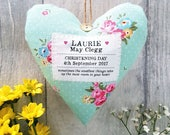 Girl's Christening / Baptism Gift - Personalised Heart - Choice of Fabric - Gift Boxed