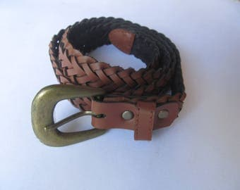 Woman Woven  Brown   Slim  Leather Belt   37..  long
