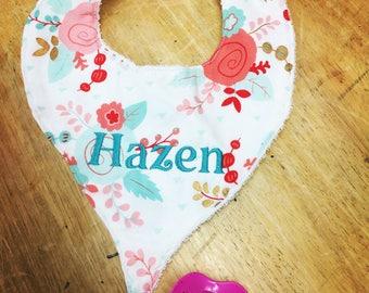 Pacifier holder bib etsy personalized bib baby bib monogrammed binky bib gifts for baby girls pacifier negle Gallery