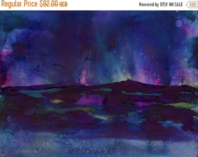 SALE Original Wall Art Painting-Watercolor Painting-Midnight Blue Northern Lights Landscape-Gift