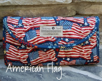 Quilted American Flag Mini and Clutch Wallets