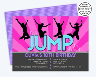Trampoline Invitation, Trampoline Party Invitation, Trampoline Birthday Invitations, Trampoline Party, Trampoline Invite,Jump Invitation 271
