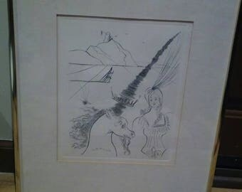 Salvador Dali Etching Lady And The Unicorn