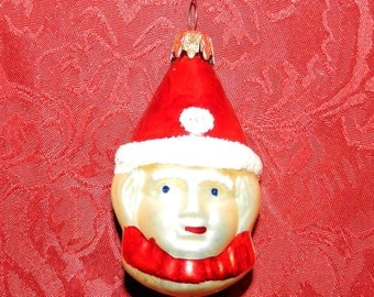 Vintage WEST GERMANY Glass Clown Pierrot Christmas Ornament with Mica Decoration