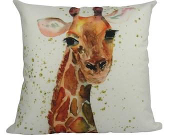 Watercolor Giraffe - Pillow Cover