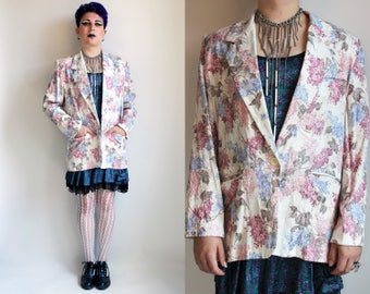 80s Clothing Floral Jacket Vintage 80s Blazer Floral Print Jacket Vintage Oversized Jacket 80s Jacket White Floral Blazer Made In The USA