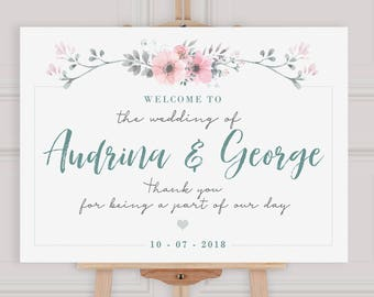 Wedding Welcome Sign - Printable Welcome Sign  - PDF  - Floral Bohemian Wedding - Welcome to Our Wedding Sign - A2 A1