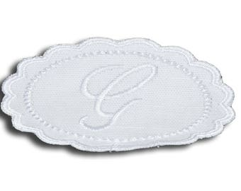 "Embroidery patch ""Letter G"" Monogram white"