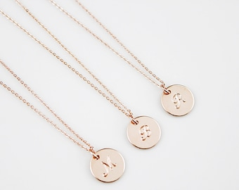 Rose gold Circle Necklace Initial Necklace Alphabet Necklace . Lowercase Necklace Bridesmaid Gift Bridesmaid Necklace Gift for friends