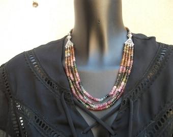 Tourmaline necklace four strands.