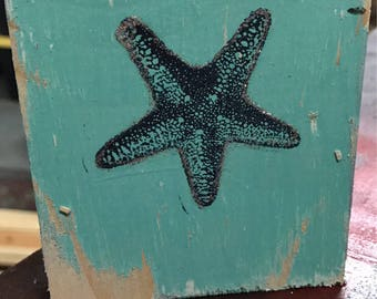 shabby chic star fish wood block
