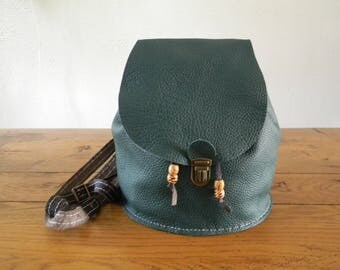 Handmade green/brown leather backpack