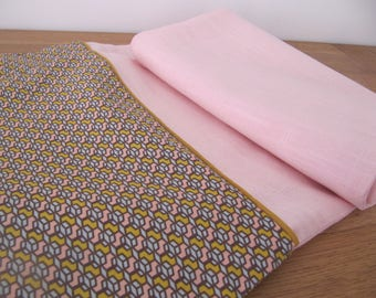 Spring scarf in pale pink linen cotton printed vintage