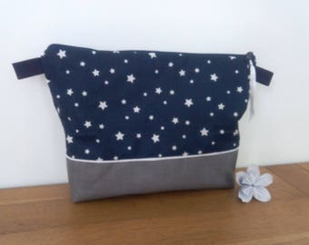 Toilet bag waterproof Navy starry white with or without a handle for child or adult