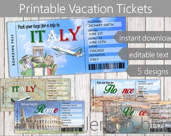 Surprise Italy Trip Ticket | Vacation Tickets Instant Download | Boarding Pass | Printable Trip Ticket Surprise | Trip to Italy Ticket