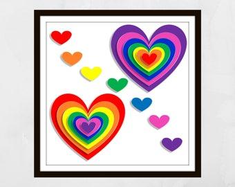 Rainbow hearts Print. Nursery wall art, Nursery prints, nursery decor, Kids wall art, kids, children's wall art, home decor, LBGTQ wall art