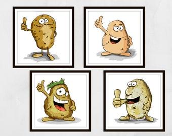 Cartoon potato Prints, Kitchen wall art, Nursery wall art, Nursery prints, Kitchen decor, Kids wall art, kids bedroom art, home decor