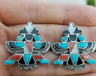 Vintage Sterling Silver with Turquoise Coral Jet Mother of Pearl MOP Knifewing Cuff Links Zuni Native American