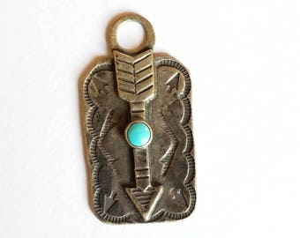 Vintage Sterling Silver with Turquoise Arrow Luggage Tag Fred Harvey Era Fob Charm Pendant