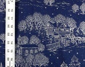 Holiday Print Blue Fabric...