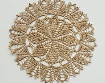 Beige handmade crochet doily No.27