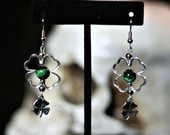 Sterling silver Shamrock with green tiger eye bead and silver clover dangle.
