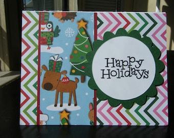 Holiday Card, Christmas Card, Chevron, Reindeer Card, Childs Christmas Card, Blank Christmas Card, Blank Holiday Card, Happy Holidays