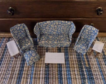 Vintage Doll House Living Room Set Sofa Couch Chairs Tables