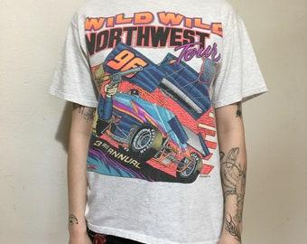 VTG 1996 Sprint Car Racing T-Shirt - Small - Vintage Tee - Vintage Clothing - Dirt Track Racing - Wild  Northwest - PNW - 90s Clothing -