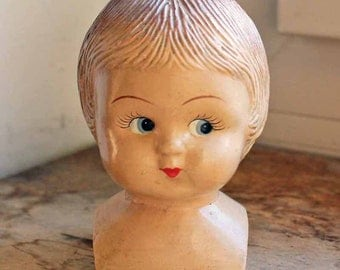 Vintage french bisque girl's head/ Beginning of 20th century hand made ceramic statuette Girl