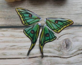 Luna Moth wings. Artbeads. Handmade fantasy beads. Insect wings. Entomologist. Resin