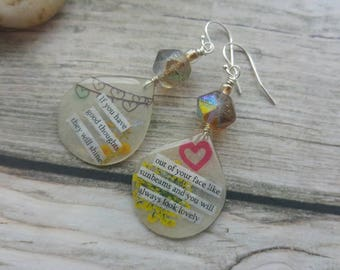 Pennythoughts Earrings. Quotation Jewellery. Roald Dahl. Delicate. Sterling silver. Literary Earrings. UK artist. Unique jewellery