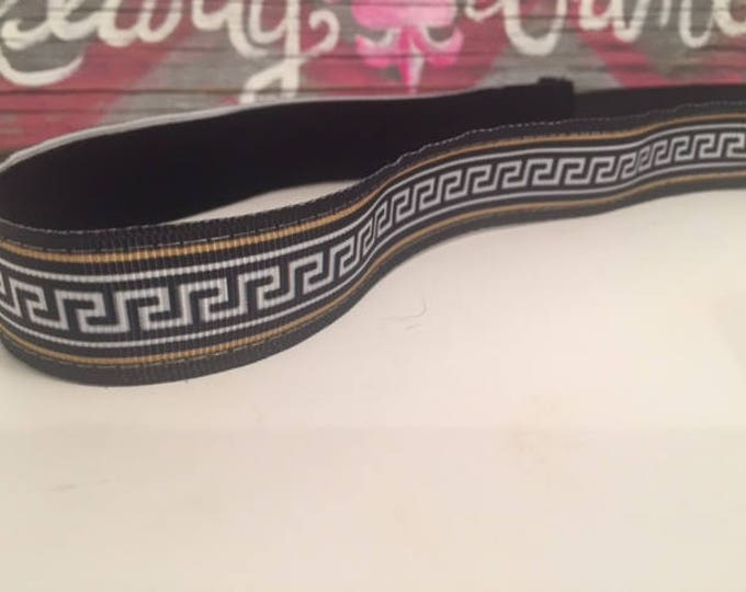 Nonslip Headband Black and Gold Greek Key