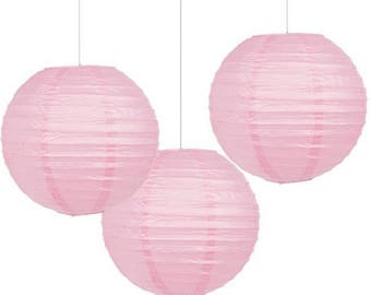Set Of Three 9 1/2 Inch Light Pink Paper Lanterns - Wedding - Anniverary - Birthday - All Occasion Party Decor