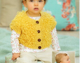 Sirdar Snuggly DK Baby Loopy Waistcoat & Hooded Waistcoat Knitting Pattern PDF Download